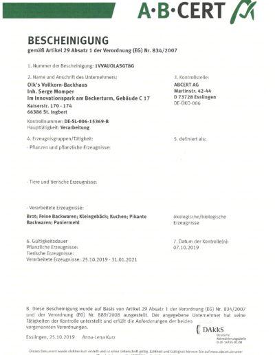 ABCERT Bio Zertifikat